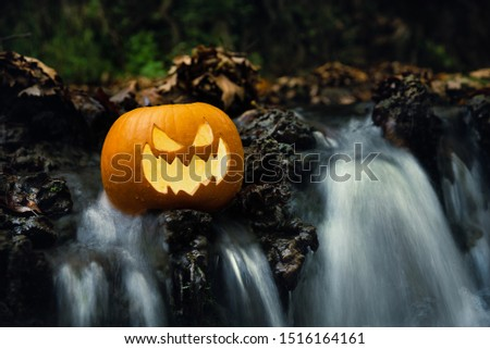 Close up carved pumpkin with creepy face jack o lantern on the brook with long exposure waterfalls. Halloween concept, copy space. Foto stock ©