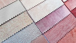 close up catalog of interior luxury fabric sample chart showing multi texture ,pattern and color tone. interior drapery and curtain samples in candy color palette.