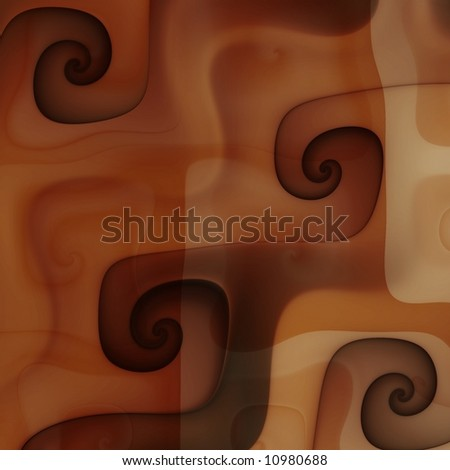 Close up chocolate caramel coffee cream swirls