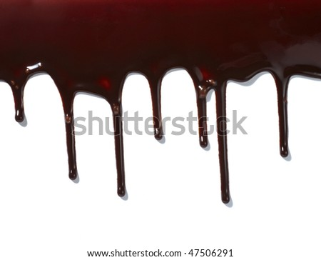 close up chocolate syrup leaking on white background