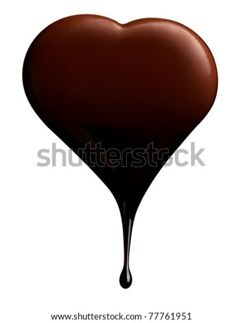 close up chocolate syrup leaking over heart shape symbol on white background with clipping path