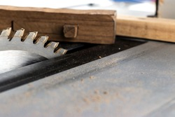 close up circular wood saw in the carpentr