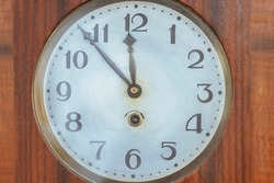 Close-up  clock, wall clock, Old Vintage antique clock, Retro styled clock, time concept