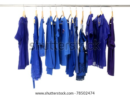 Close up clothes hanger with blue -shirt