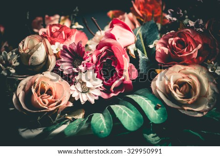stock photo close up colorful bunch of beautiful flowers vintage or retro tone 329950991 - Каталог — Фотообои «Цветы»