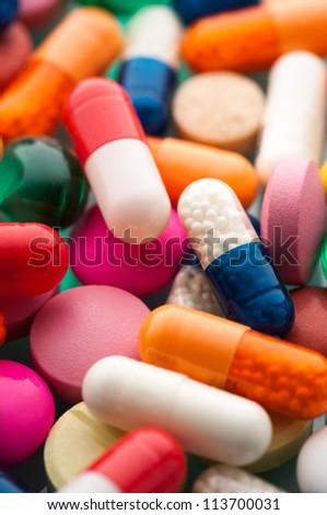 Close up colorful pills background