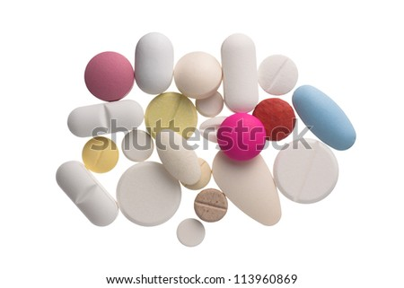 Close up colorful pills , isolated on white background