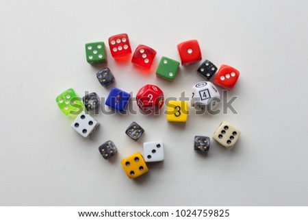 Close up colorful rolled game dice  #1024759825