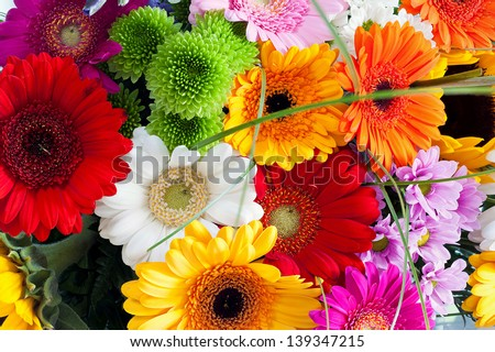 Close-up colorful spring bouquet with many different flowers