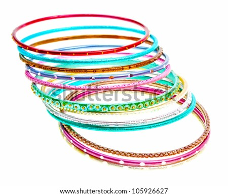 Close-up colorful wrist bands isolated on white background
