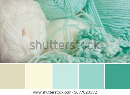 Close up colorful yarn texture background, light mint green and creamy beige strains. Shallow depth of focus. Color palette swatches, fresh trendy combination of colors for styling, pastel nuances. Photo stock ©