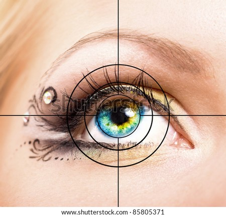 Close up Colourful human eye with makeup and target #85805371