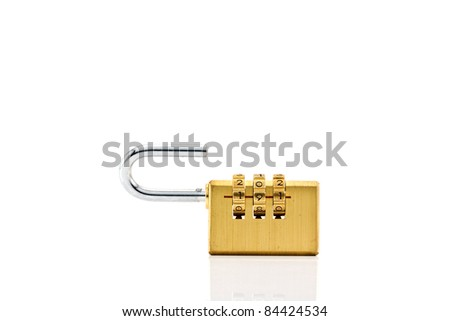 Close-up combination padlock isolated on white background