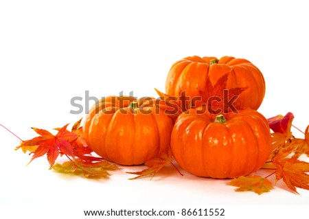 Close up composition of pumpkins and leaves on the table.
