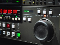 Close up control button of digital betacam recorder