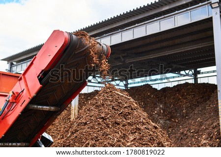 close-up conveyor of an industrial wood shredder producing wood chips from bark ストックフォト ©