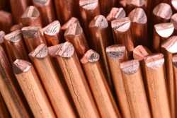Close-up copper wire raw materials and metals industry and stock market concept