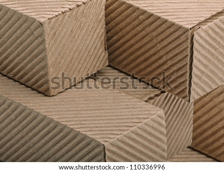 close-up corrugated cardboards boxes