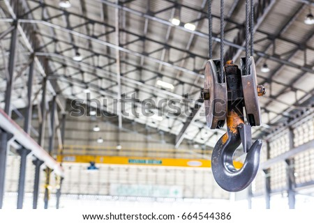 Close up crane hook for overhead crane in factory