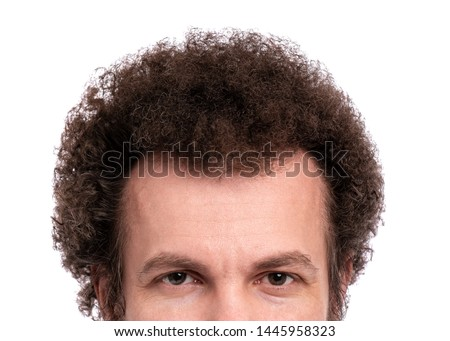 Close up cropped image of male head with Curly Hair. Man looking at camera, isolated on white background #1445958323