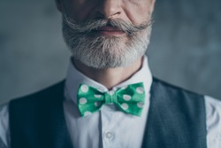 Close up cropped photo of serious millionaire old man show his stunning hairstyle beard mustache green necktie isolated over grey color background
