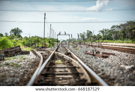 Railroad crossing signal for two tracks Images and Stock Photos