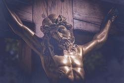 Close up crucifixion of Jesus Christ. Retro styled image..