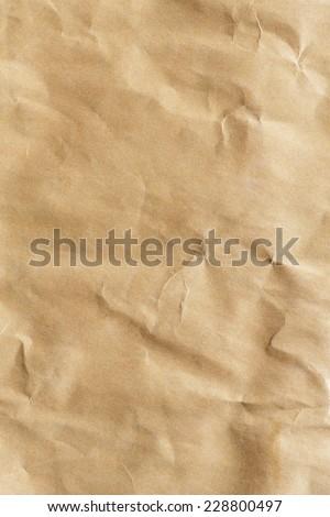 Close up crumpled brown color envelope paper texture