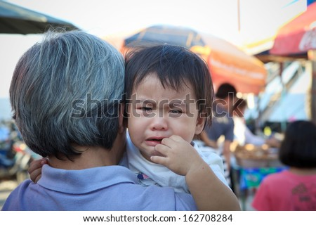 close up crying face of two years old child #162708284