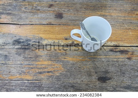 Close up cup of coffee  white cup on wooden background