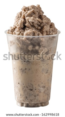 Close up dark chocolate flavored cookie smoothie in plastic cup isolated on white - with path #162998618