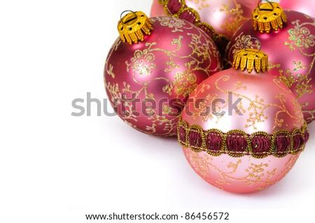 Close up decorative Christmas balls on white background.