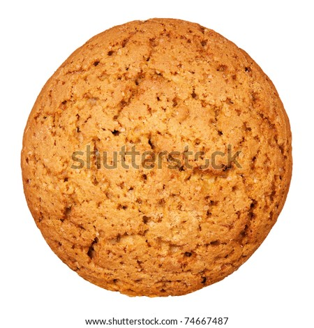 Close up delicious oatmeal cookies - isolated on white background