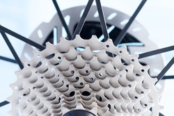 Close up Detail of a New rear gears set of road bike. (New bike cassette)