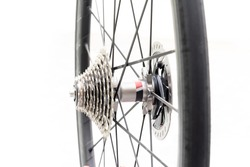 Close up Detail of a New rear gears set of road bike wheel isolate on white background (New bike cassette on bike wheel)