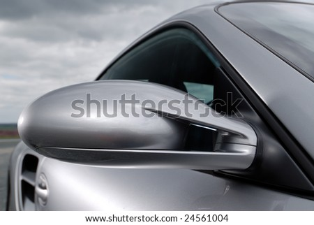Close up detail of a silver car