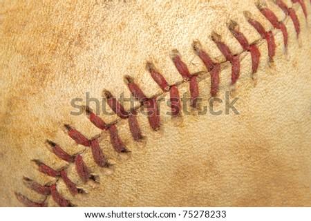 Close Up Detail of a Vintage Baseball's Seams
