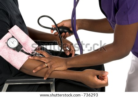 Close Up Detail of an African American nurse taking the blood preasure of a male African American patient