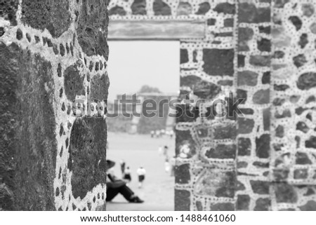 Close Up, Detail of Archeological Site of the Pyramid of the Sun and Pyramid of the Moon, Teotihuacán, State of Mexico, Mexico Black and White