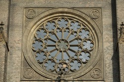Close Up Detail of Central Circular Window or Rose Windw on Facade of the Brick Neo-Gothic Roman Catholic Church of St Ludmila at Prague's Peace Square (Namesti Miru) in the Vinohrady Neighborhood