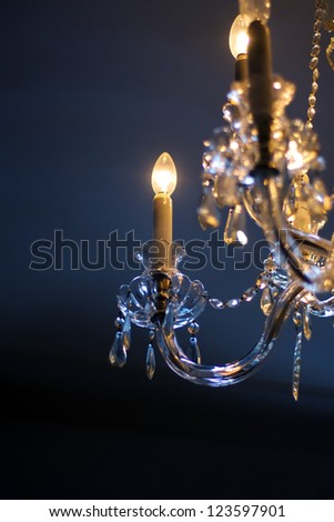 Close up detail of chandelier bulb