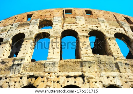Close up detail of Colosseum wall. bottom view. Rome, Italy