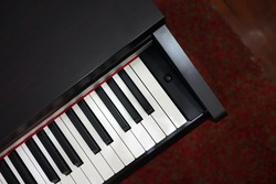 Close up detail of Electric digital Piano keyboard- music instrument