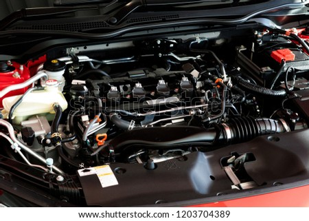 Close up detail of new car engine Car engine part
