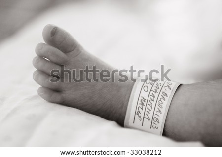 Close up detail of the foot of Premature baby boy delivered by Caesarean section