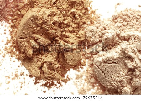 close up detail shot of a  powder maker up, isolated over white