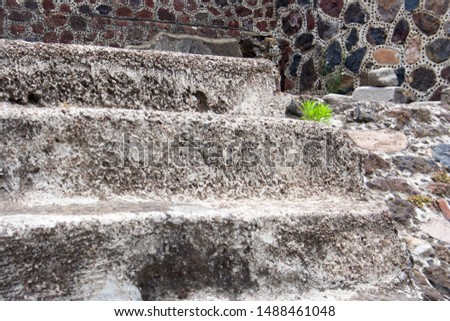 Close Up, Detail Stairs at of Archeological Site of the Pyramid of the Sun and Pyramid of the Moon, Teotihuacán, State of Mexico, Mexico