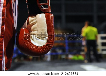 Close-up Detail View of a Boxing Glove During a Fight - Image Has a Shallow Depth of Field with Focus on the Glove