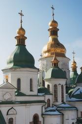 Close up detail view of ukrainian Orthodox church cupolas. Saint Sophia Cathedral in Kiev, Ukraine