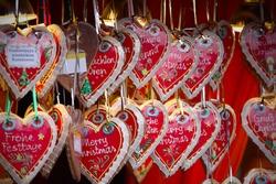 close up details of christmas markets. Cake hearts. Vienna, Austria